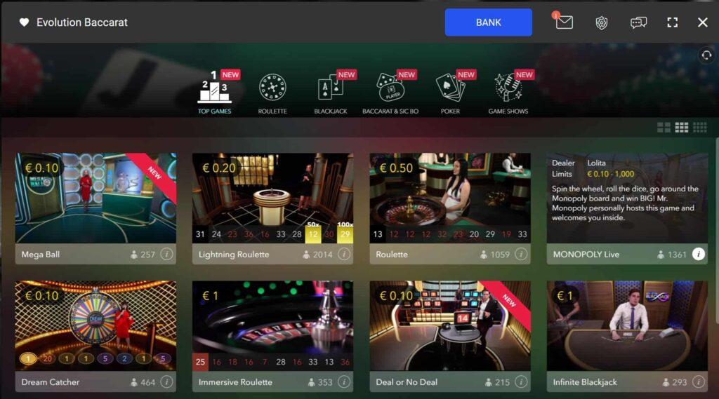 Spin live casino